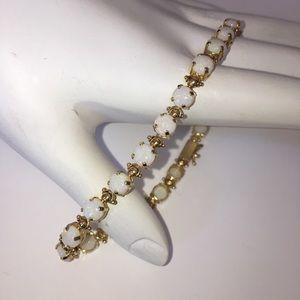 Jewelry - Solid 14K Yellow Gold Opal Tennis Bracelet